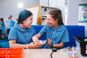 Two students working with robotics at St Mary Star of the Sea Catholic Primary School Hurstville