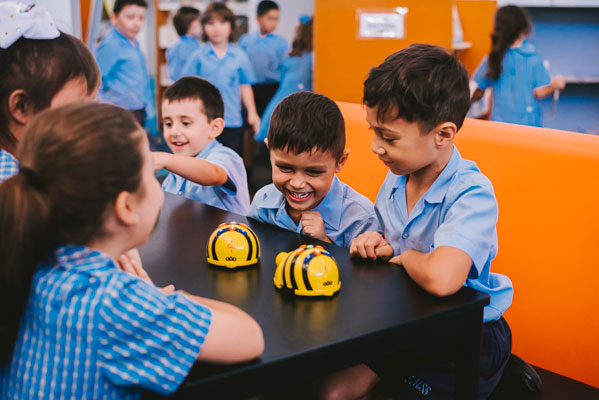 Students using bee bots in St Mary Star of the Sea Catholic Primary School Hurstville